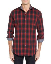 Bugatchi - Red Classic Fit Check Sport Shirt for Men - Lyst