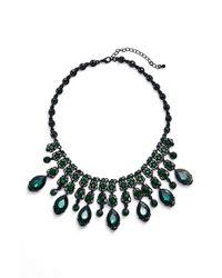 Tasha | Green Jewel Frontal Necklace | Lyst