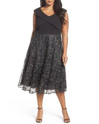 Alex Evenings | Black Tea Length Soutache Embroidered Party Dress | Lyst