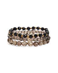 Panacea | Black Beaded Tassel Stretch Bracelet | Lyst