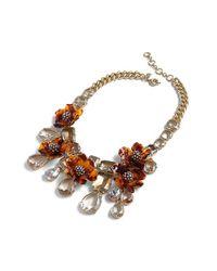 J.Crew | Multicolor Tortoise Look Flower Necklace | Lyst