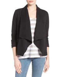 Caslon | Black Caslon Knit Drape Front Jacket | Lyst