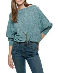 Free People | Blue Valencia Off The Shoulder Pullover | Lyst