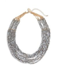 Natasha Couture | Gray Beaded Multistrand Statement Necklace | Lyst