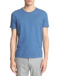 John Varvatos - Blue Striated Knit T-shirt for Men - Lyst
