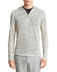 John Varvatos | Gray Melange Linen Quarter Zip Hoodie for Men | Lyst