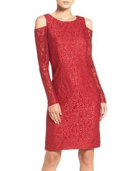 Alex Evenings | Red Glitter Lace Dress | Lyst