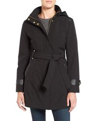Via Spiga | Black Belted Soft Shell Coat | Lyst