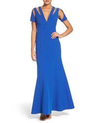 BCBGMAXAZRIA Blue Crepe Gown