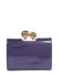 Ted Baker | Blue Delisa Glitter Kiss Lock Leather Wallet | Lyst