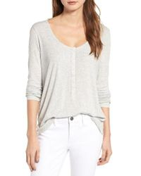 Hinge | Gray Ribbed Henley Top | Lyst