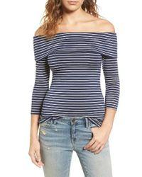 Hinge Blue Off The Shoulder Stretch Jersey Top