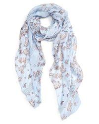 Hinge | Blue Kaleidoscope Bloom Lace Inset Scarf | Lyst