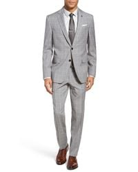 Ted Baker   Gray Jay Trim Fit Plaid Wool Suit for Men   Lyst