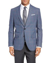 Ted Baker | Blue Jay Trim Fit Windowpane Wool & Linen Sport Coat for Men | Lyst
