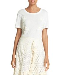 See By Chloé | White Lace Applique Tee | Lyst