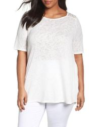 Sejour | White Lace Inset Scoop Neck Knit Tunic | Lyst