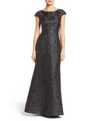 Vera Wang | Black Textured Metallic Gown | Lyst