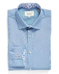 Ted Baker | Blue Endurance Trim Fit Dot Dress Shirt for Men | Lyst