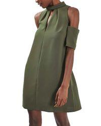 TOPSHOP   Green Cold Shoulder Keyhole Dress   Lyst