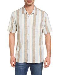 Tommy Bahama White Cubano Boy Original Fit Stripe Camp Shirt for men