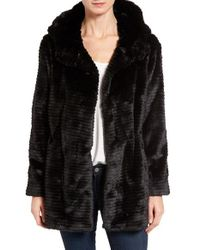 Vince Camuto | Black Hooded Faux Fur Coat | Lyst