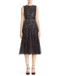 Carolina Herrera   Black Degrade Sequin Silk Midi Dress   Lyst