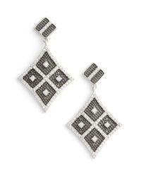 Freida Rothman - Metallic Contemporary Deco Pave Kite Drop Earrings - Lyst
