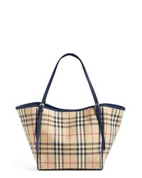 Burberry | Blue Small Canter Horseferry Check Tote | Lyst