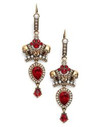 Alexander McQueen - Metallic Crown Skull Earrings - Lyst