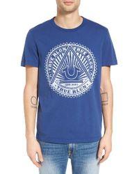 True Religion | Blue Sunburst Logo Graphic T-shirt for Men | Lyst