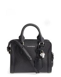 Alexander McQueen | Black Mini Padlock Calfskin Leather Duffel Bag | Lyst