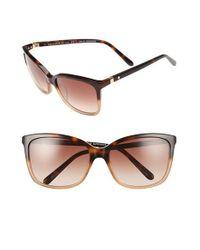 Kate Spade | Brown Kasie 55mm Cat Eye Sunglasses - Havana/ Nude | Lyst
