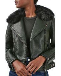 TOPSHOP | Green 'honey' Faux Fur Collar Faux Leather Moto Jacket | Lyst