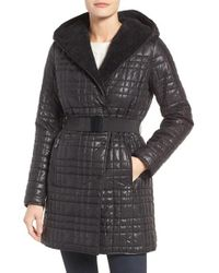Kenneth Cole | Black Faux Shearling Lined Puffer Coat | Lyst