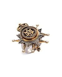 Alexander McQueen - Metallic Medallion Ring - Lyst