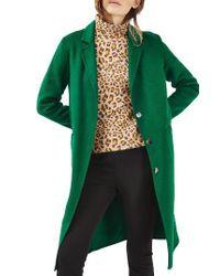 TOPSHOP | Green Snap Button Three-quarter Coat | Lyst