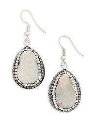Panacea | Gray Sunstone Teardrop Earrings | Lyst