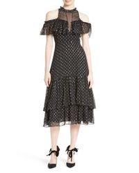Rebecca Taylor   Black Metallic Clip Midi Dress   Lyst