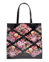 Ted Baker   Black Large Icon Lost Gardens Tote   Lyst