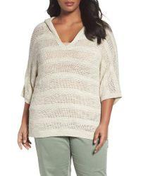 Caslon | Natural Caslon Open Work Cotton Hoodie Sweater | Lyst