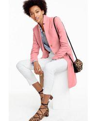 J.Crew - Pink 'regent' Wool Long Topcoat - Lyst