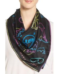 Marc By Marc Jacobs | Black Marc Jacobs Neon Lights Silk Scarf | Lyst
