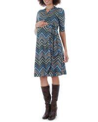 Everly Grey | Blue Mila Wrap Maternity/nursing Dress | Lyst