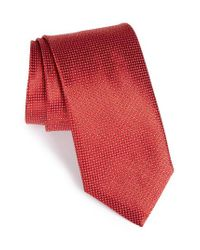 Canali | Red Solid Silk Tie for Men | Lyst
