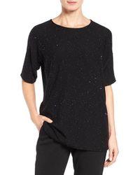 Eileen Fisher | Black Fine Merino Twinkle Knit Sweater | Lyst