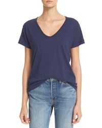 Vince | Blue Relaxed V-neck Tee | Lyst