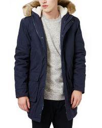 Topman | Blue Hooded Parka With Faux Fur Trim for Men | Lyst
