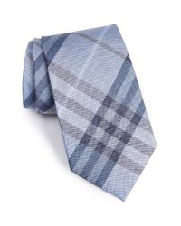 Burberry | Blue Clinton Check Silk Tie for Men | Lyst