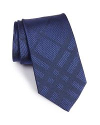 Burberry   Blue Clinton Check Silk Tie for Men   Lyst